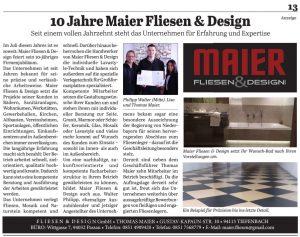 Anzeige: 10 Jahre Maier Fliesen & Design